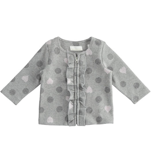 Newborn girl jacket with polka dot and hearts pattern from 0 to 24 months Minibanda GRIGIO MELANGE-8867
