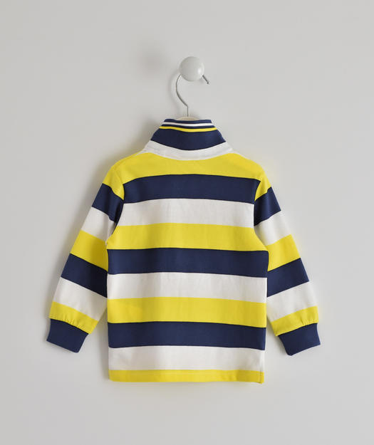 Long-sleeved 100% cotton polo shirt with striped pattern for baby boys from 6 months to 7 years Sarabanda GIALLO-1444