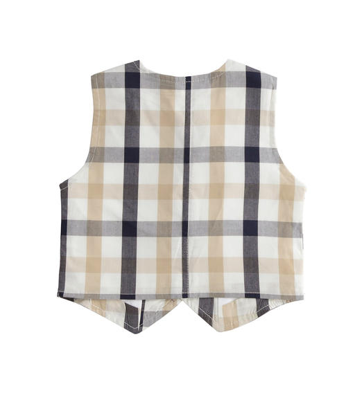100% cotton vest with check pattern for baby boy from 0 to 24 months Minibanda NAVY-3854