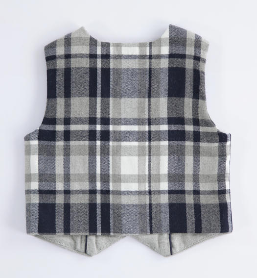 Check pattern vest for newborn from 0 to 24 months Minibanda GRIGIO MELANGE-8992