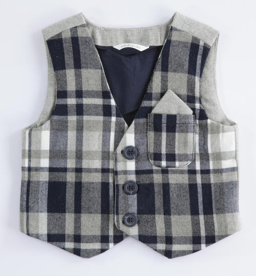 Check pattern vest for newborn from 0 to 24 months Minibanda NAVY-3854