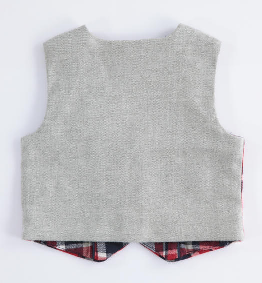 Check pattern vest for newborn from 0 to 24 months Minibanda ROSSO-2253