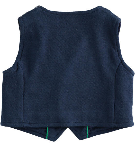 Micro check pattern vest for newborn from 0 to 24 months Minibanda GRIGIO MELANGE-8993