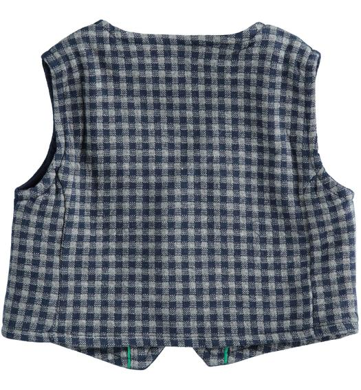 Micro check pattern vest for newborn from 0 to 24 months Minibanda NAVY-3854