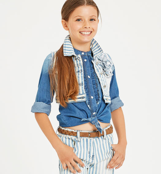 Vest made of jacquard drill with sunbed-like stripe pattern for girl from 6 to 16 years Sarabanda PANNA-0112