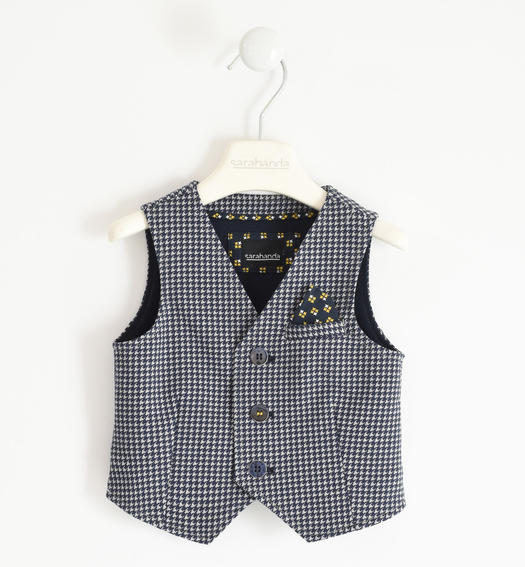 Fleece vest with micro pied de poule pattern for boy from 6 months to 7 years Sarabanda GRIGIO-NAVY-6NY2