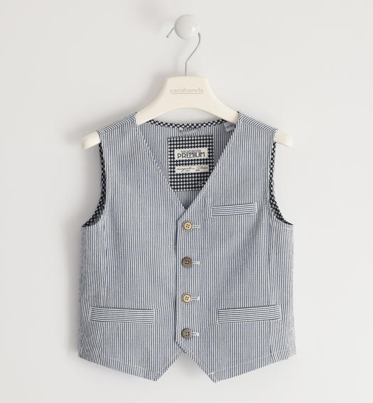 Seersucker waistcoat with pochette for boy from 6 to 16 years Sarabanda GRIGIO-3564