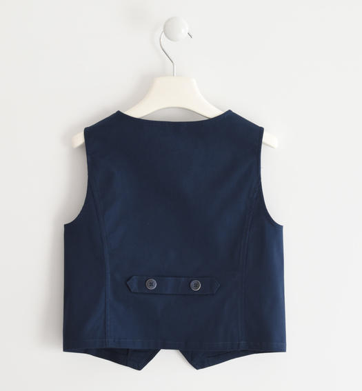 Vest in textured fabric with tone-on-tone micro dotting effect for boy from 6 to 16 years Sarabanda NAVY-3885