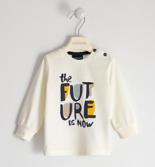 "100% organic cotton round neck ""The future is now"" BIO capsules for boy from 6 months to 7 years Sarabanda PANNA-0112"