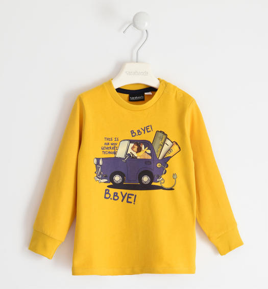 100% cotton round neck with car print for boy from 6 months to 7 years Sarabanda GIALLO-1615