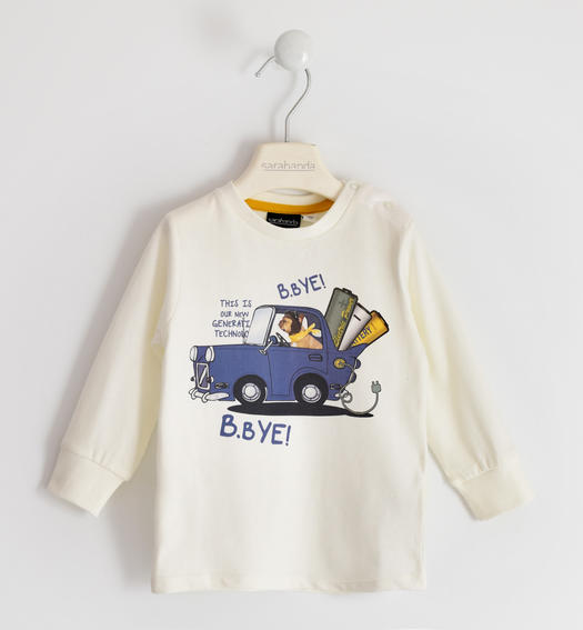 100% cotton round neck with car print for boy from 6 months to 7 years Sarabanda PANNA-0112