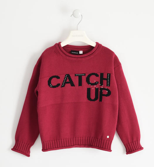 "100% cotton ""Catch up"" knit round neck for girl from 6 to 16 years Sarabanda BORDEAUX-2654"
