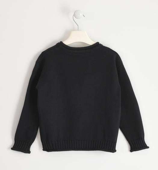 "100% cotton ""Catch up"" knit round neck for girl from 6 to 16 years Sarabanda NERO-0658"