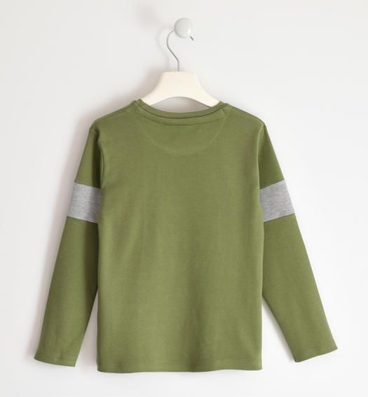100% cotton interlock round neck with bands on the sleeve for boy from 6 to 16 years Sarabanda VERDE SALVIA-4951
