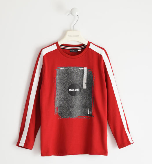 100% cotton jersey round neck with contrasting colours for boy from 6 to 16 years Sarabanda ROSSO-2253