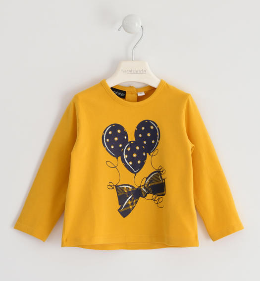 Jersey round neck with bow and balloons for girl from 6 months to 7 years Sarabanda GIALLO-1615