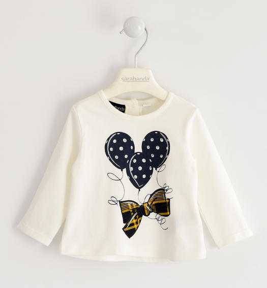 Jersey round neck with bow and balloons for girl from 6 months to 7 years Sarabanda PANNA-0112