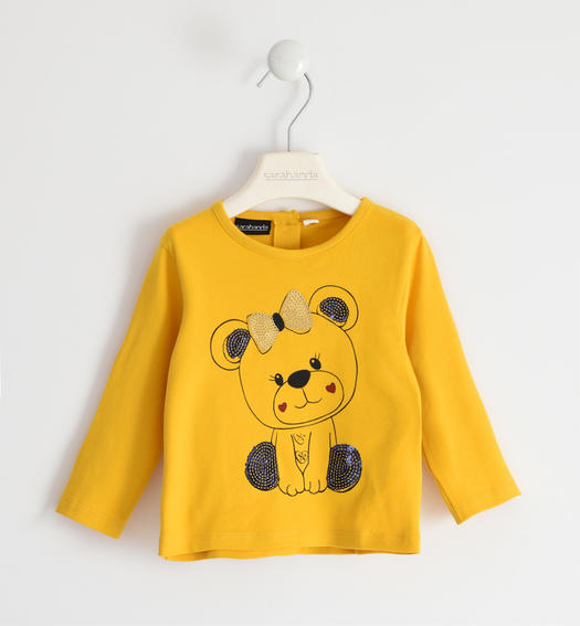 Jersey round neck with kittens for girl from 6 months to 7 years Sarabanda GIALLO-1615