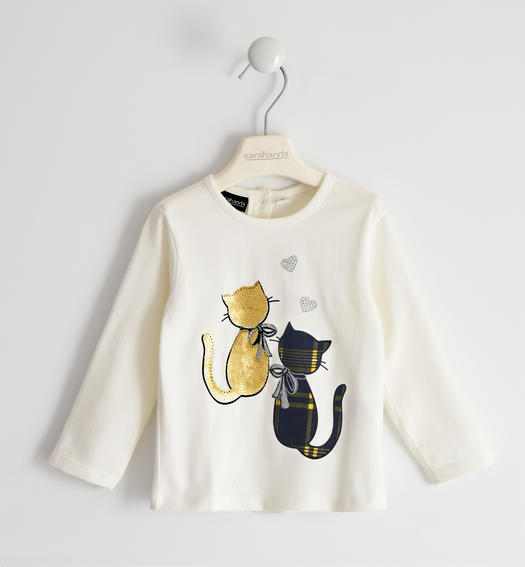 Jersey round neck with kittens for girl from 6 months to 7 years Sarabanda PANNA-0112