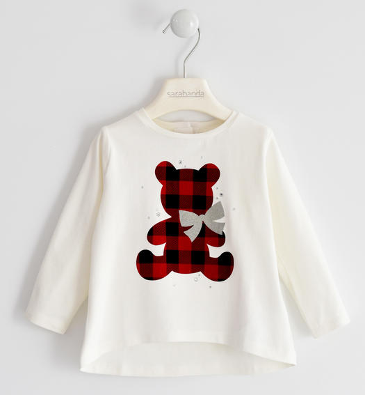 Jersey round neck with check teddy bear for girl from 6 months to 7 years Sarabanda PANNA-0112