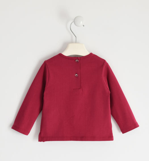 Jersey round neck with sequins and rhinestones for girl from 6 months to 7 years Sarabanda BORDEAUX-2654