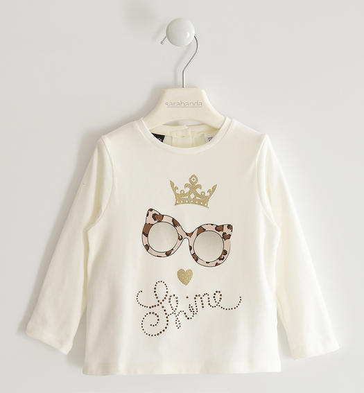 Stretch jersey round neck with screen printing and rhinestones for girl from 6 months to 7 years Sarabanda PANNA-0112