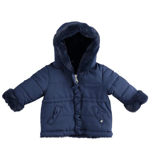 Jacket with hood and pockets with bow for newborn girl from 0 to 24 months Minibanda NAVY-3854