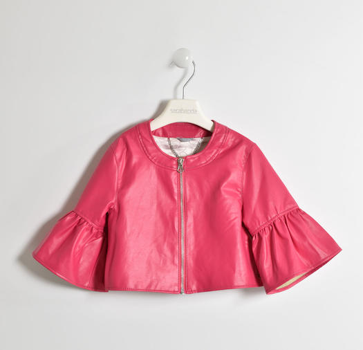 Chanel cut faux leatherjacket for girls from 6 to 16 years Sarabanda FUXIA-2346