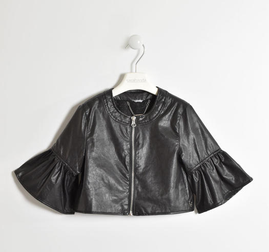 Chanel cut faux leatherjacket for girls from 6 to 16 years Sarabanda NERO-0658