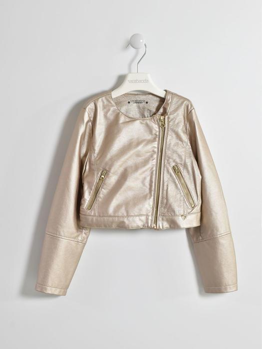 online store 2031d 800ae Giubbotto in ecopelle color oro opaco per bambina da 6 a 16 anni Sarabanda