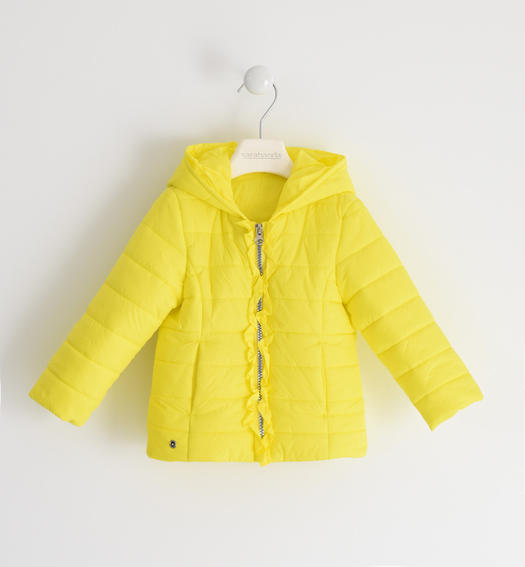 Sarabanda 100 gram nylon jacket with ruffles for girl from 6 months to 7 years GIALLO-1434
