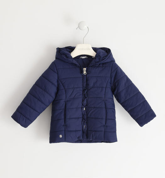 Sarabanda 100 gram nylon jacket with ruffles for girl from 6 months to 7 years NAVY-3854