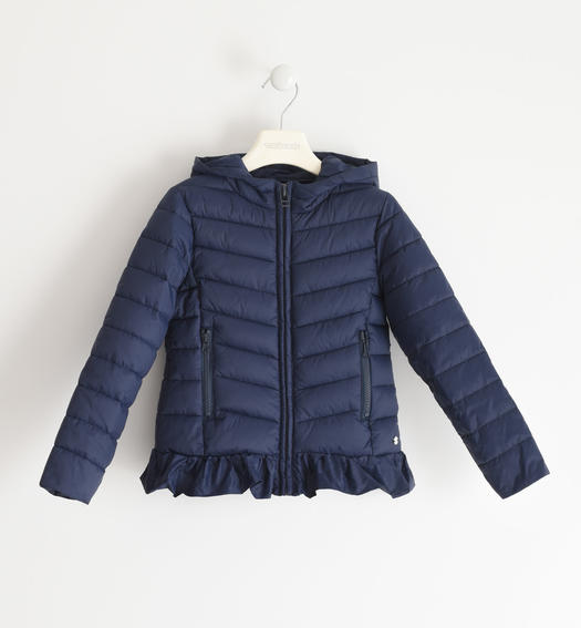 Sarabanda 100 gram nylon jacket with hood for girl from 6 to 16 years NAVY-3885