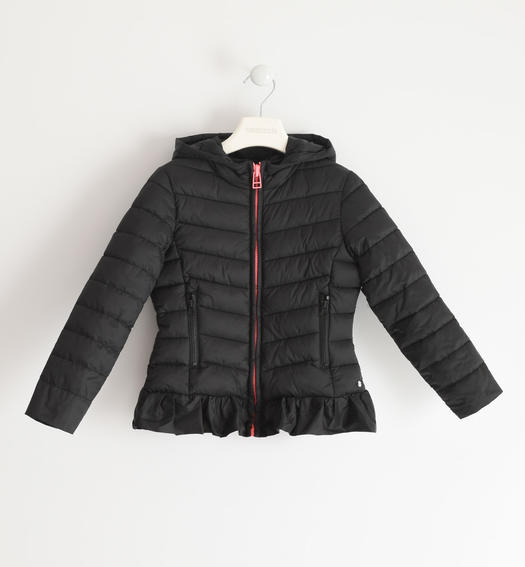 Sarabanda 100 gram nylon jacket with hood for girl from 6 to 16 years NERO-0658