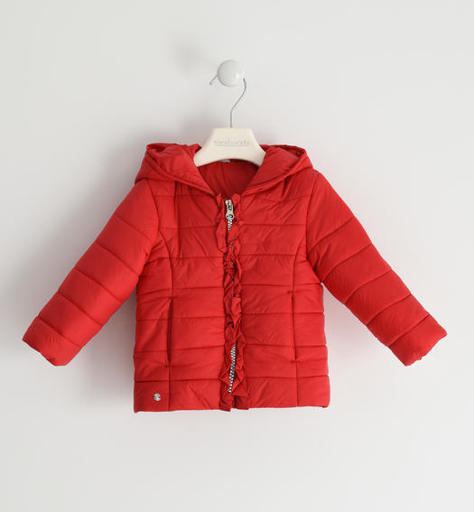 Sarabanda 100 gram nylon jacket with ruffles for girl from 6 months to 7 years ROSSO-2256