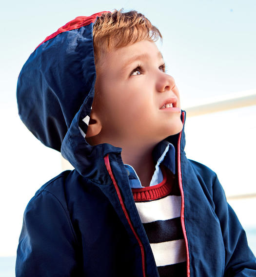 Technical nylon jacket for baby boy from 6 months to 7 years Sarabanda NAVY-3854