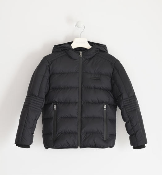 Goose down jacket with hood for boy from 6 to 16 years Sarabanda NERO-0658
