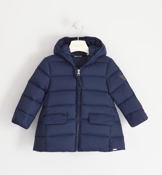 Goose down jacket with rhinestone heart for girl from 6 months to 7 years Sarabanda NAVY-3885