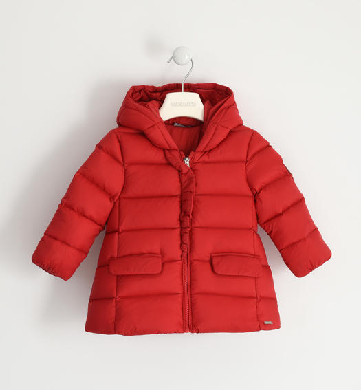 Goose down jacket with rhinestone heart for girl from 6 months to 7 years Sarabanda ROSSO-2253