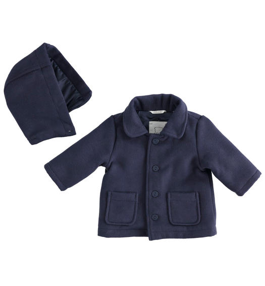 Smooth velvet jacket for newborn boy from 0 to 24 months Minibanda NAVY-3854