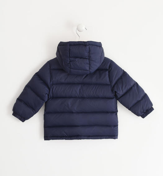 Real goose down jacket with contrasting color lining for baby boys from 6 months to 7 years Sarabanda NAVY-3854