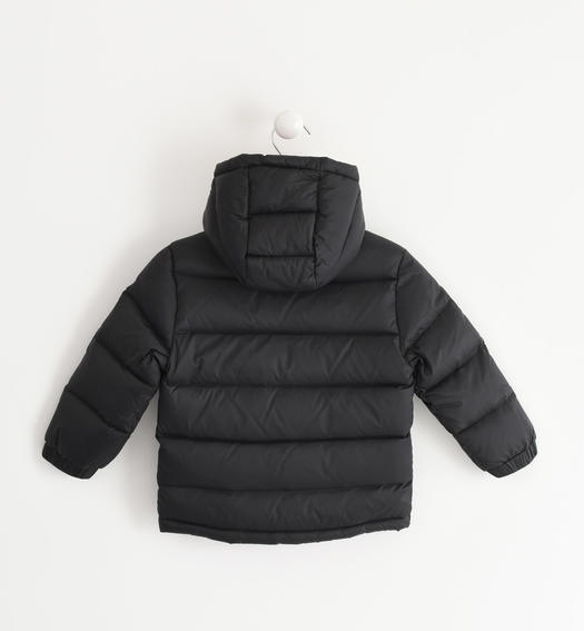 Real goose down jacket with contrasting color lining for baby boys from 6 months to 7 years Sarabanda NERO-0658