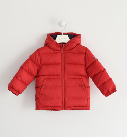 Real goose down jacket with contrasting color lining for baby boys from 6 months to 7 years Sarabanda ROSSO-2253