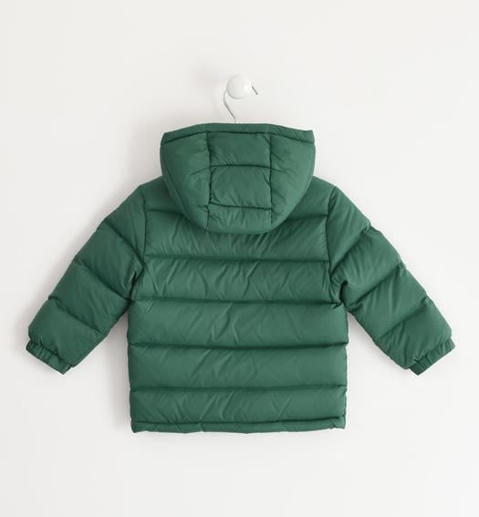 Real goose down jacket with contrasting color lining for baby boys from 6 months to 7 years Sarabanda VERDE-4726