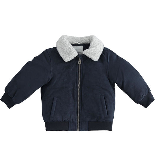 Bomber jacket with faux fur collar for newborn boy from 0 to 24 months Minibanda NAVY-3854
