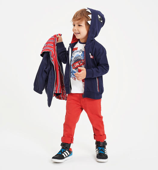Sarabanda reversible vest with sharks for boy from 6 months to 7 years NAVY-3854
