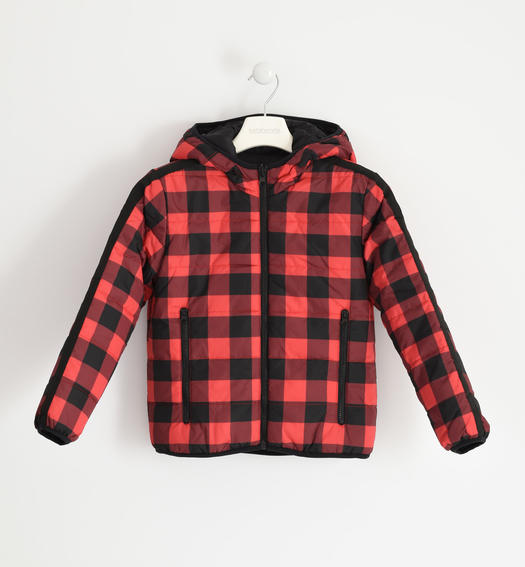 Reversible check or camouflage pattern jacket for boy from 6 to 16 years Sarabanda ROSSO-NERO-6NN5