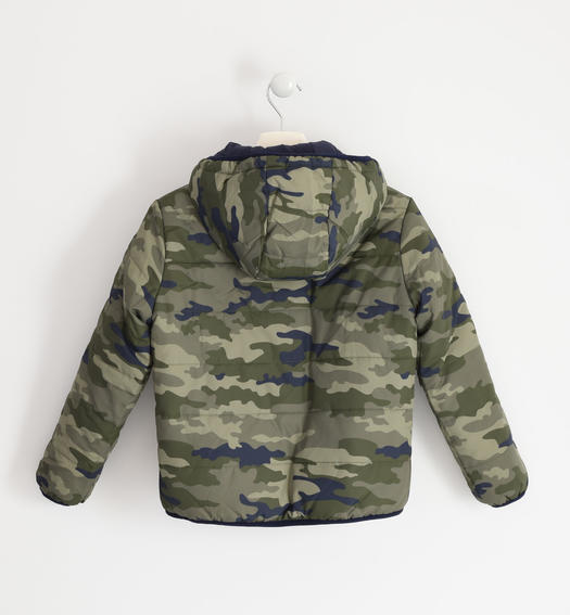 Reversible check or camouflage pattern jacket for boy from 6 to 16 years Sarabanda VERDE-MULTICOLOR-6NL3
