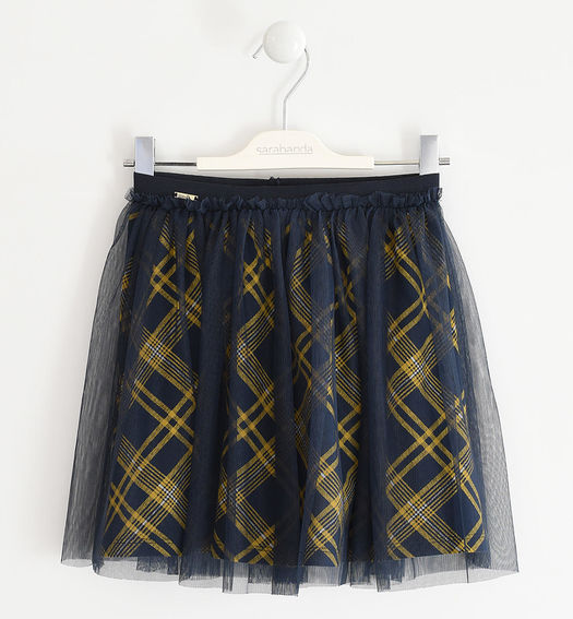Skirt with tulle and tartan print for girl from 6 months to 7 years Sarabanda NAVY-GIALLO-6NP4