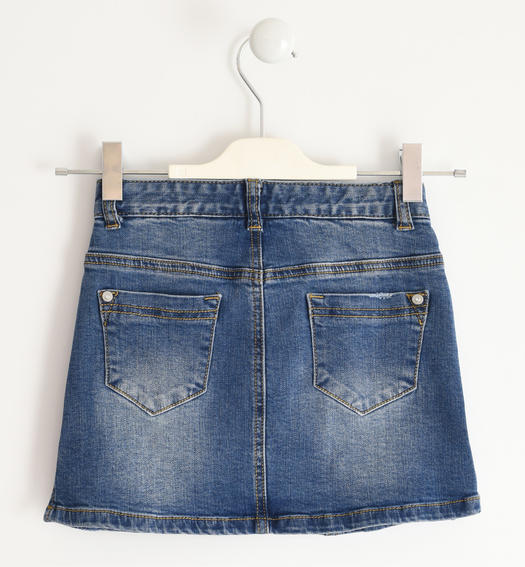 Mini fit stretch denim skirt for girl from 6 to 16 years Sarabanda STONE WASHED-7450